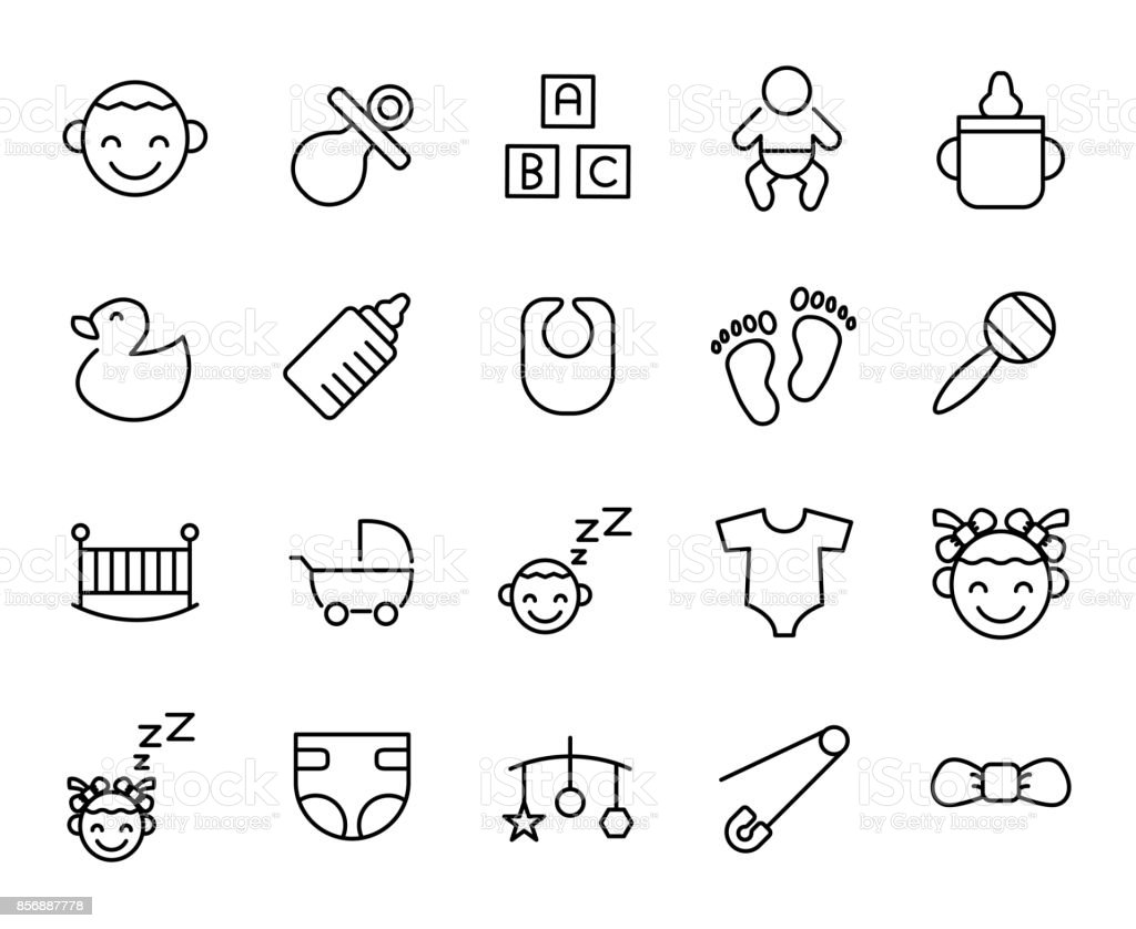 Premium set of baby line icons. vector art illustration