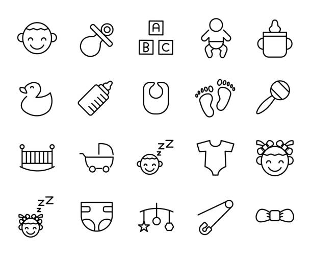 Premium set of baby line icons. Premium set of baby line icons. Simple pictograms pack. Stroke vector illustration on a white background. Modern outline style icons collection. infant bodysuit stock illustrations