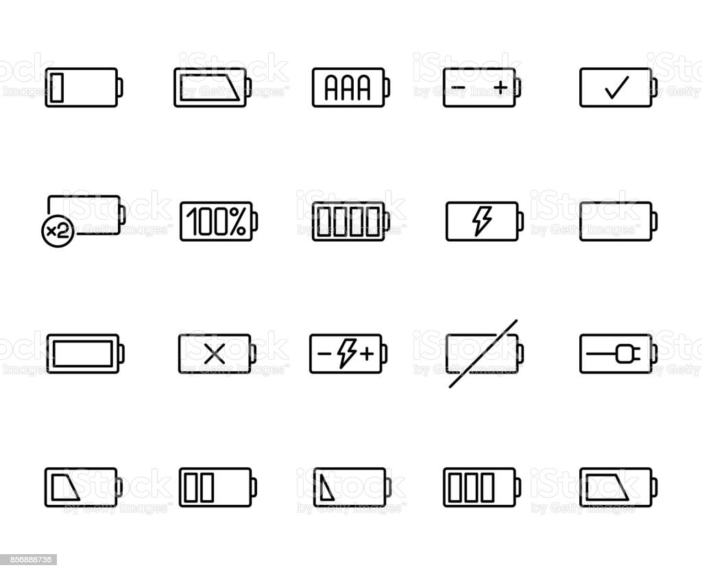 Premium set of battery line icons. vector art illustration