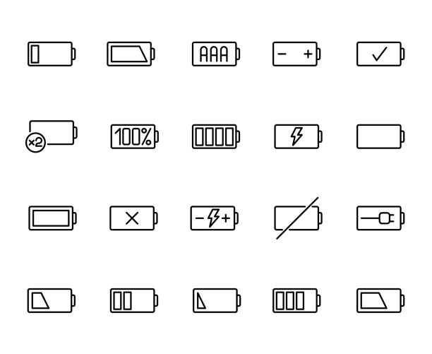 Premium set of battery line icons. Premium set of battery line icons. Simple pictograms pack. Stroke vector illustration on a white background. Modern outline style icons collection. battery stock illustrations