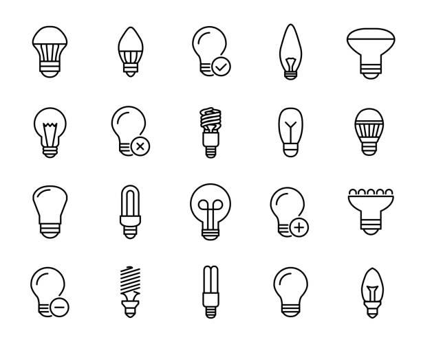 ilustrações, clipart, desenhos animados e ícones de conjunto de ícones de bulbo linha premium. - led