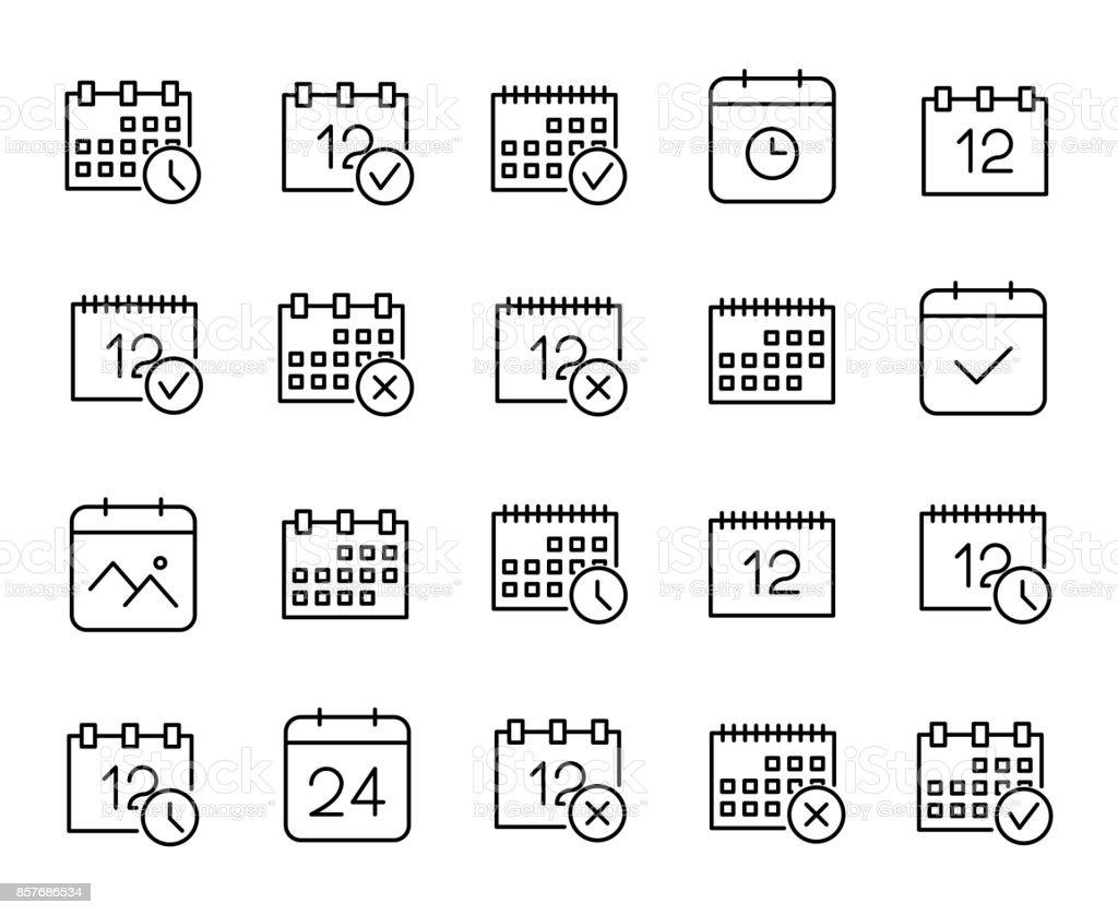 Premium set of calendar line icons. vector art illustration