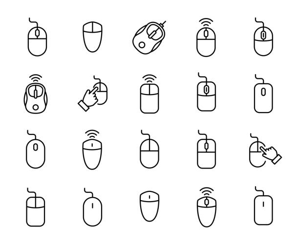 premium set of computer mouse line icons. - mouse stock illustrations