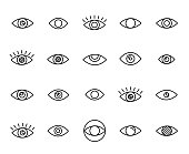 Premium set of eye line icons