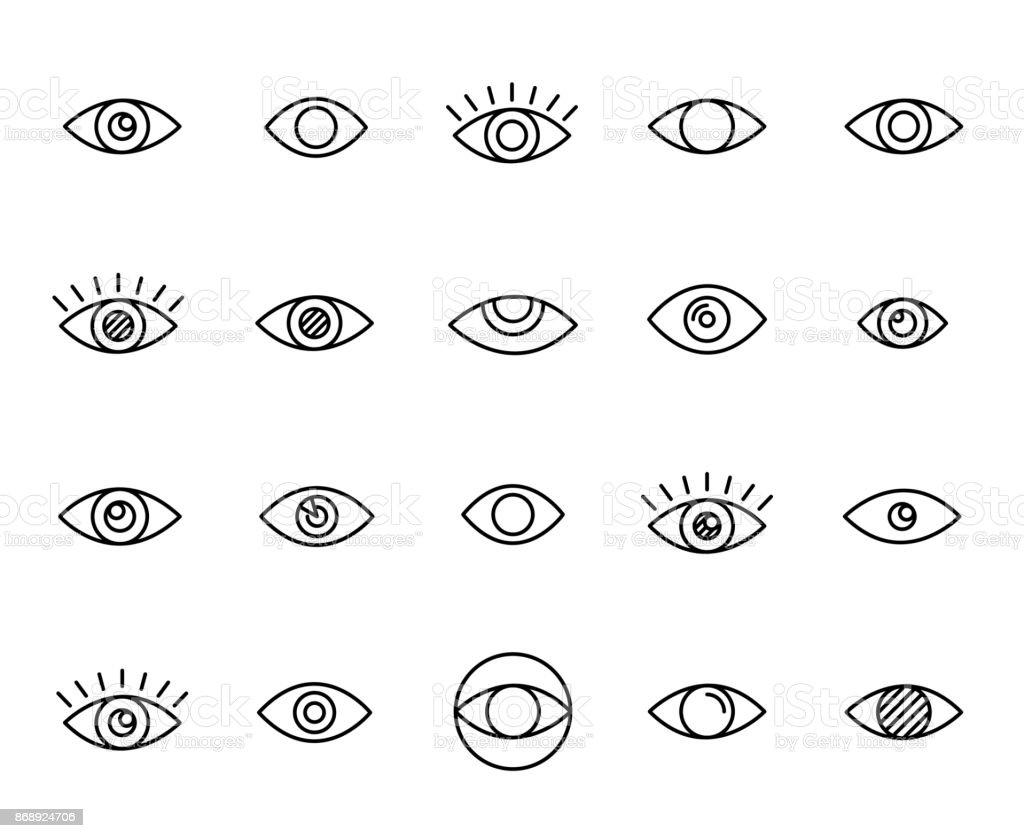 Premium-Linie Augensymbole set – Vektorgrafik