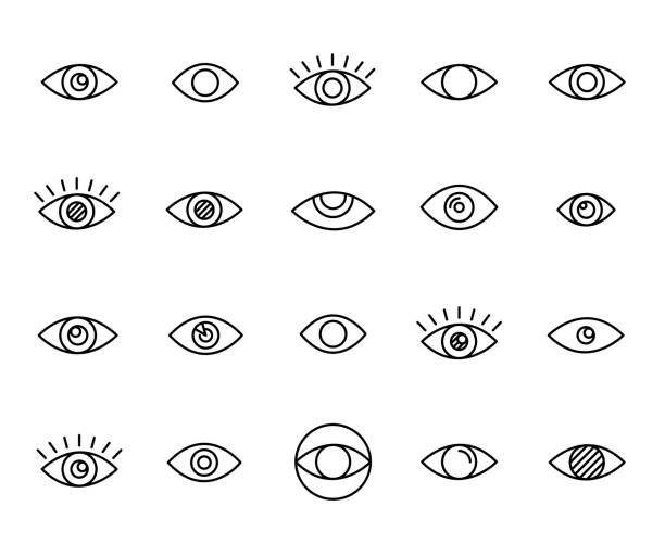 premium set of eye line icons - панорамный stock illustrations