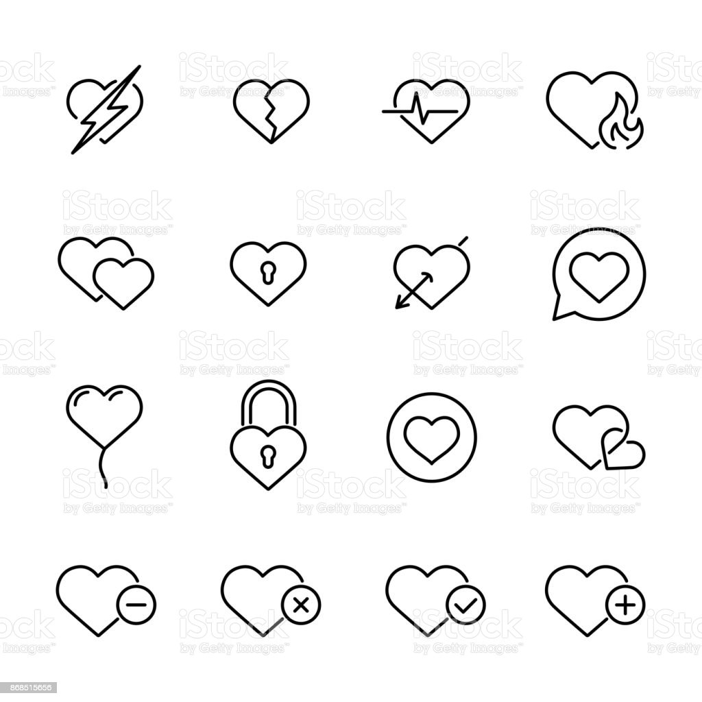 Premium set of heart line icons vector art illustration