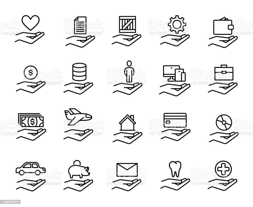 Premium set of insurance line icons. vector art illustration