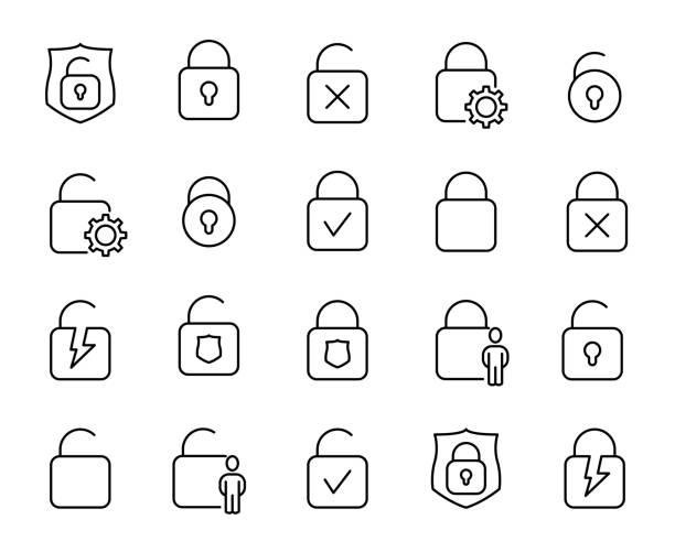 stockillustraties, clipart, cartoons en iconen met premium set lock lijn pictogrammen. - hangslot