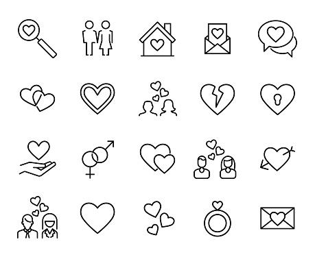 Premium set of love line icons.