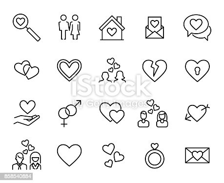 Premium set of love line icons. Simple pictograms pack. Stroke vector illustration on a white background. Modern outline style icons collection.