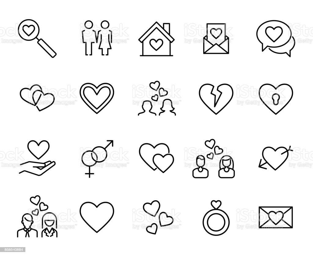 Premium set of love line icons. vector art illustration