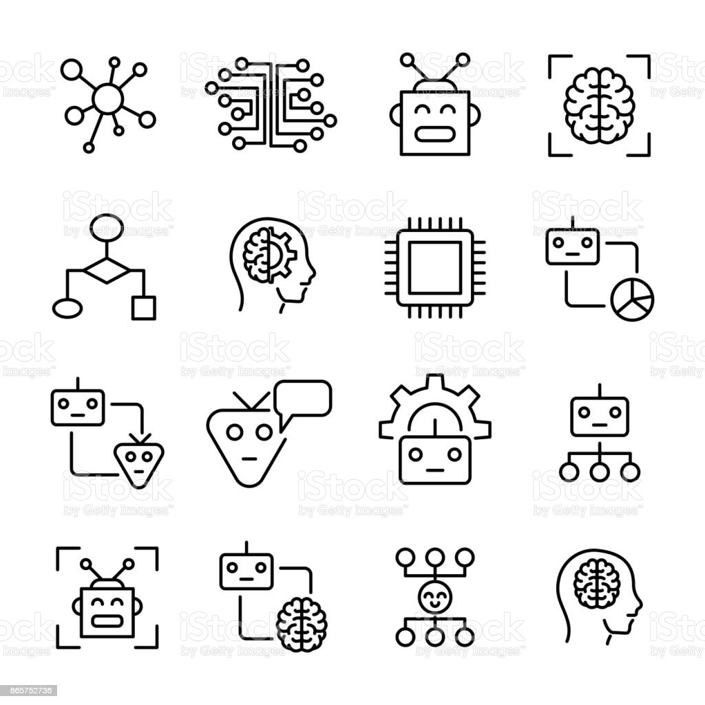 Premium set of machine learning line icons. vector art illustration