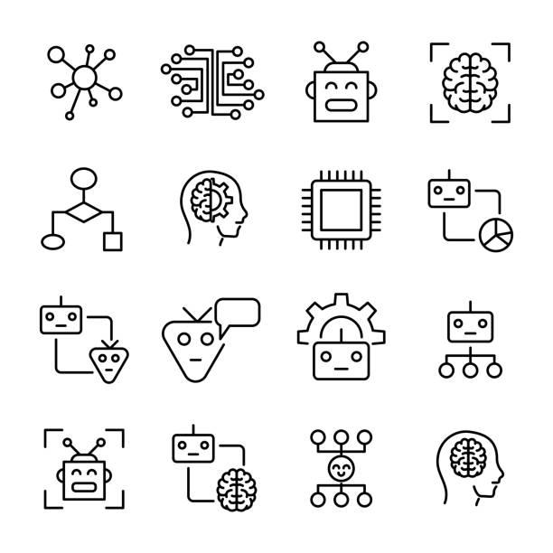 premium set of machine learning line icons. - digital display stock illustrations, clip art, cartoons, & icons