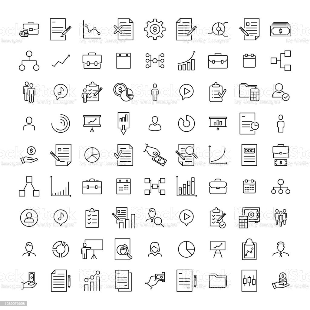 Premium set of management line icons. - Grafika wektorowa royalty-free (Biuro)