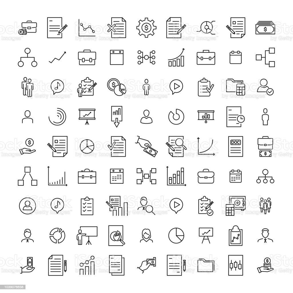 Premium set of management line icons.