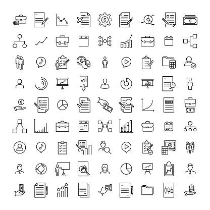 Premium Set Of Management Line Icons - Stockowe grafiki wektorowe i więcej obrazów Biuro