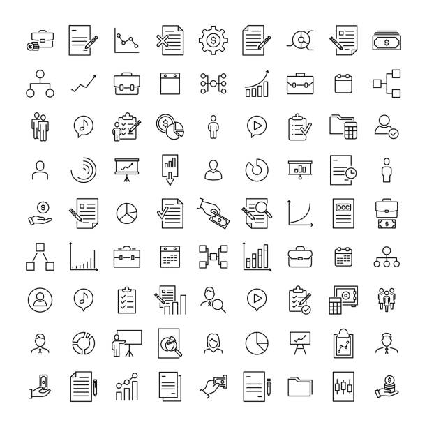 premium set of management line icons. - business stock illustrations