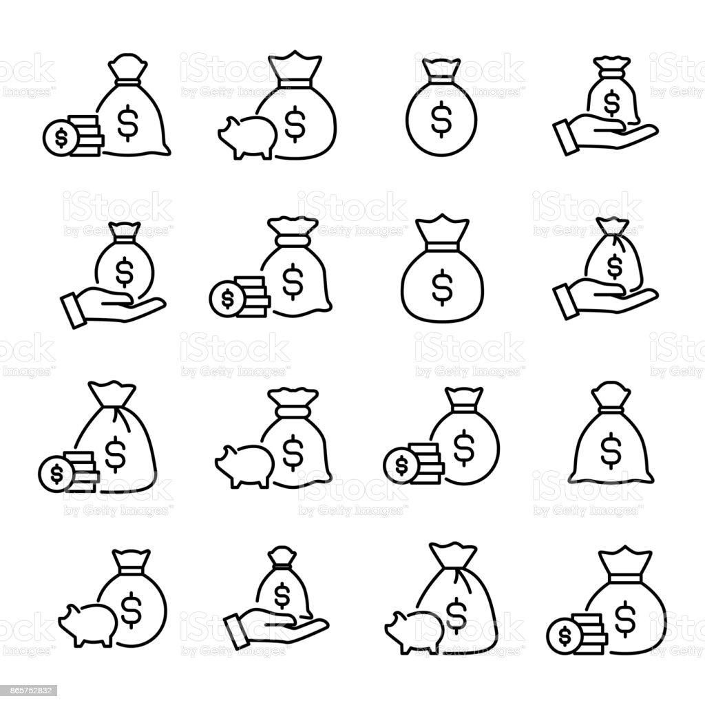 Premium set of moneybag line icons. vector art illustration
