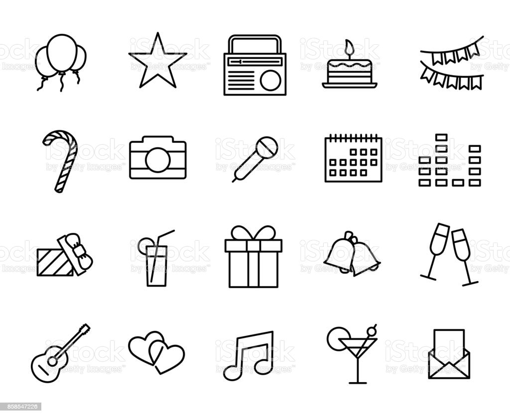 Premium set of party line icons. vector art illustration