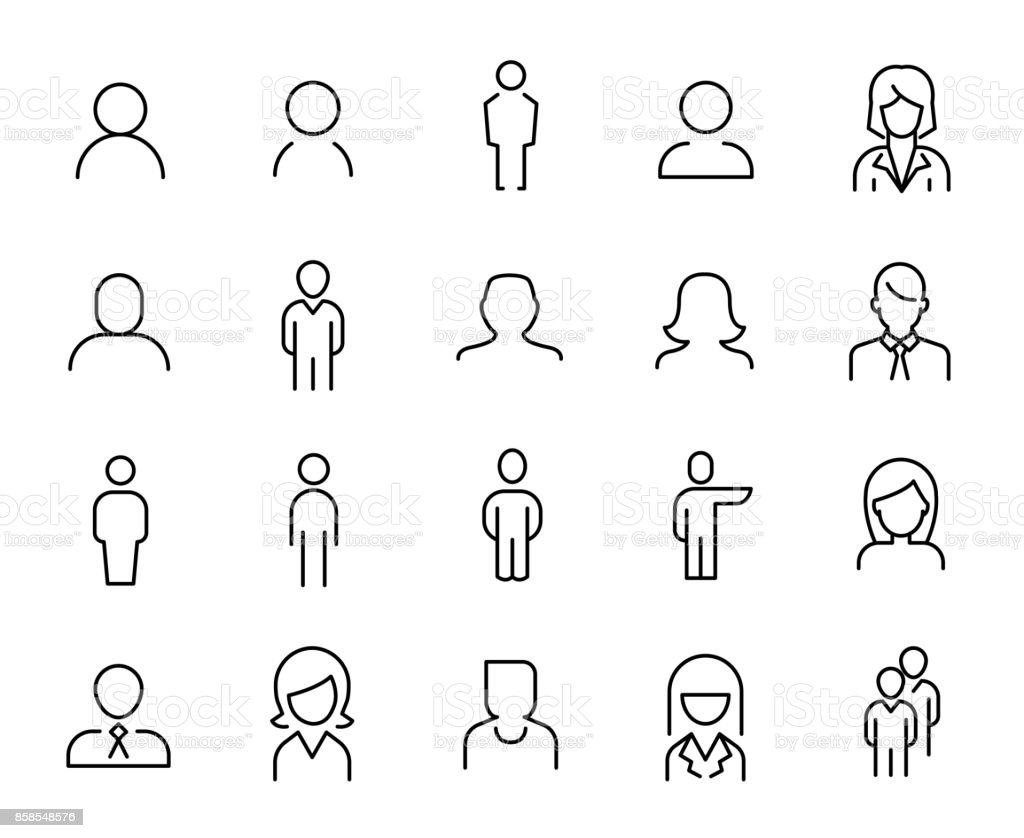 Premium set of people line icons. - illustrazione arte vettoriale