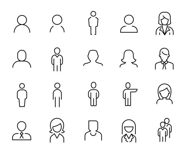premium set of people line icons. - people stock illustrations