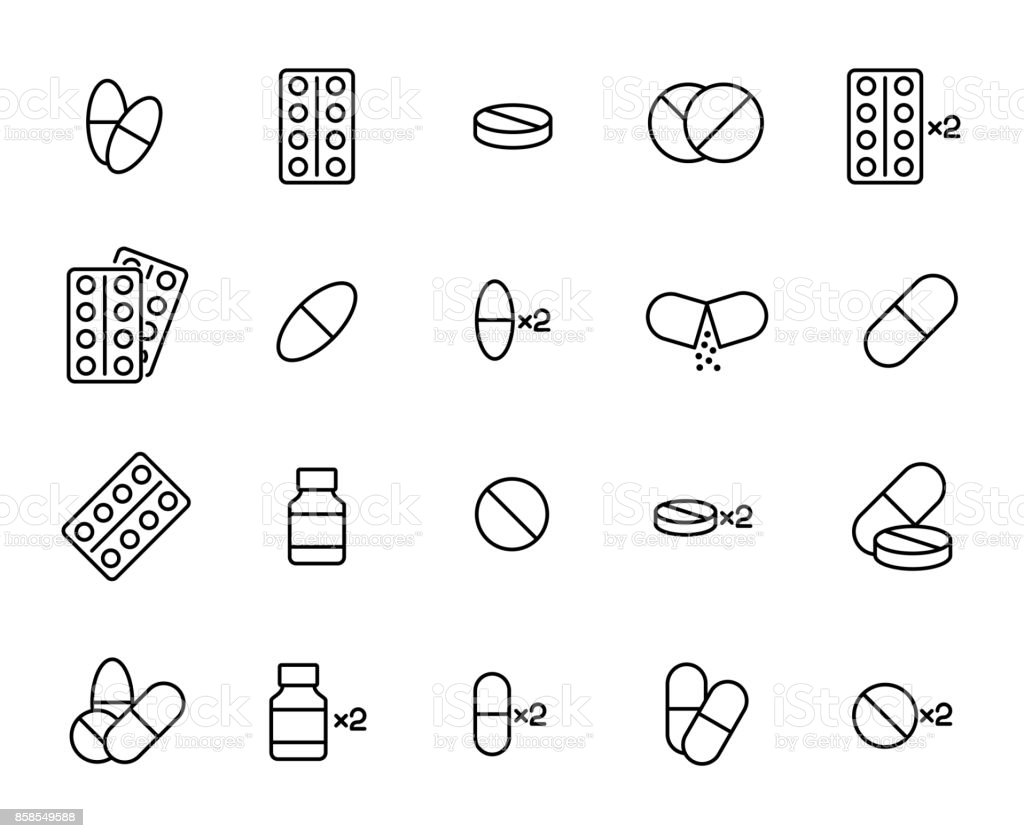 Premium set of pills line icons. vector art illustration