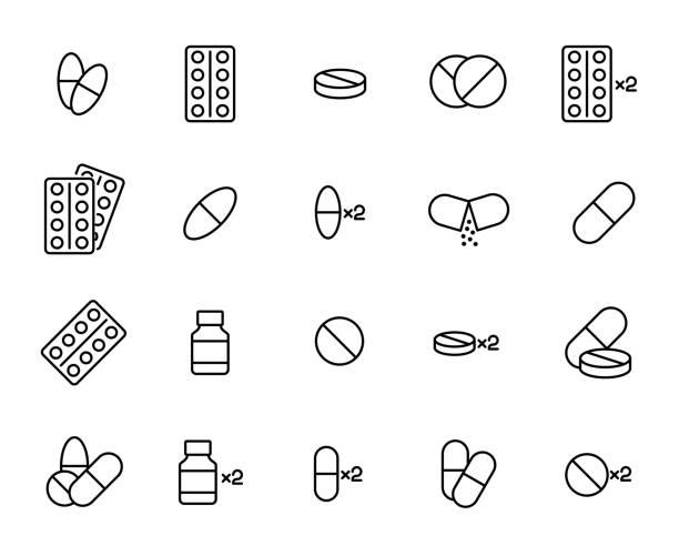 illustrazioni stock, clip art, cartoni animati e icone di tendenza di premium set of pills line icons. - dose