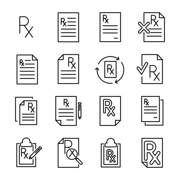 Premium set of prescription line icons. Premium set of prescription line icons. Simple pictograms pack. Stroke vector illustration on a white background. Modern outline style icons collection. rx stock illustrations