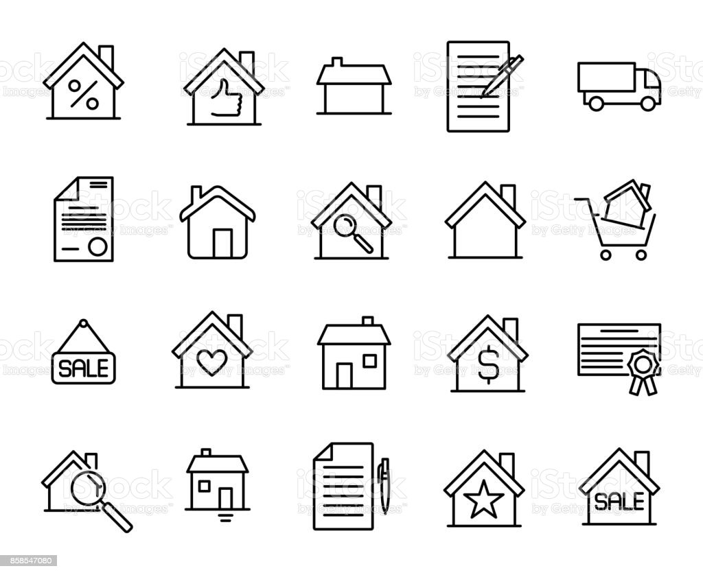 Premium set of real estate line icons.