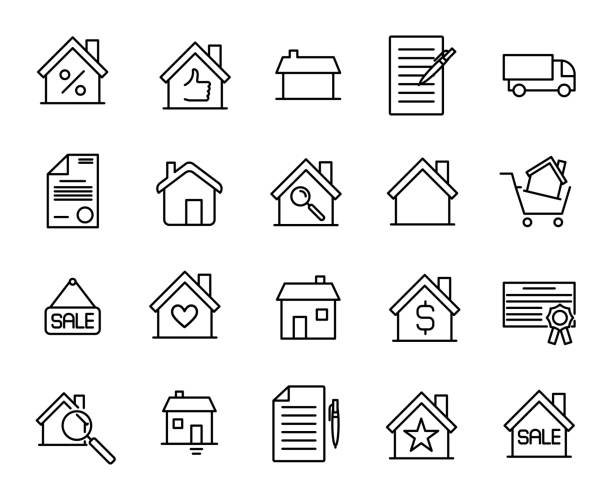 premium set of real estate line icons. - architecture symbols stock illustrations