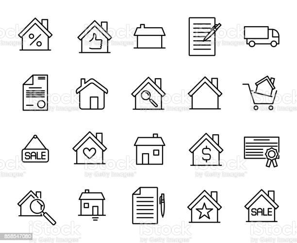 Premium set of real estate line icons. Simple pictograms pack. Stroke vector illustration on a white background. Modern outline style icons collection.