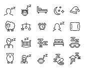 Premium set of sleep line icons.