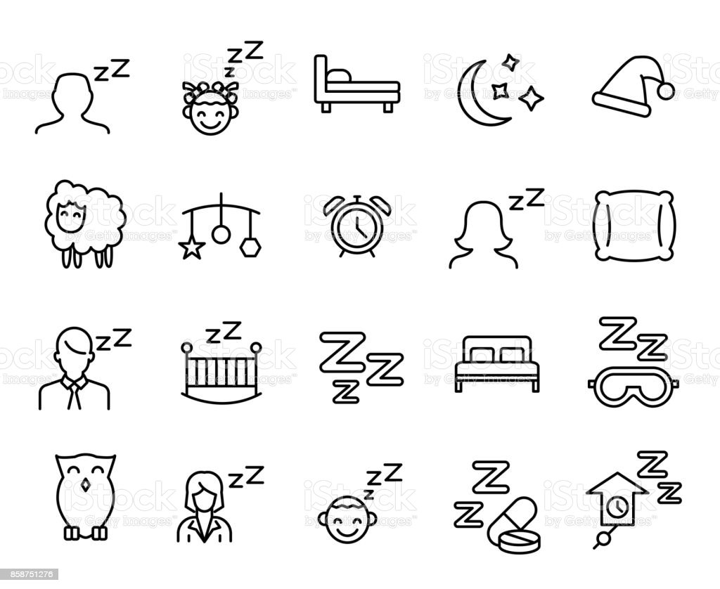 Premium set of sleep line icons. vector art illustration