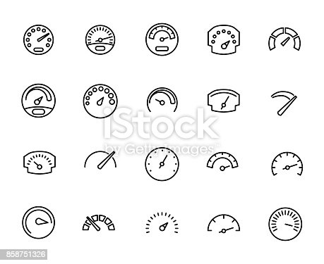 Premium set of speedometer line icons. Simple pictograms pack. Stroke vector illustration on a white background. Modern outline style icons collection.