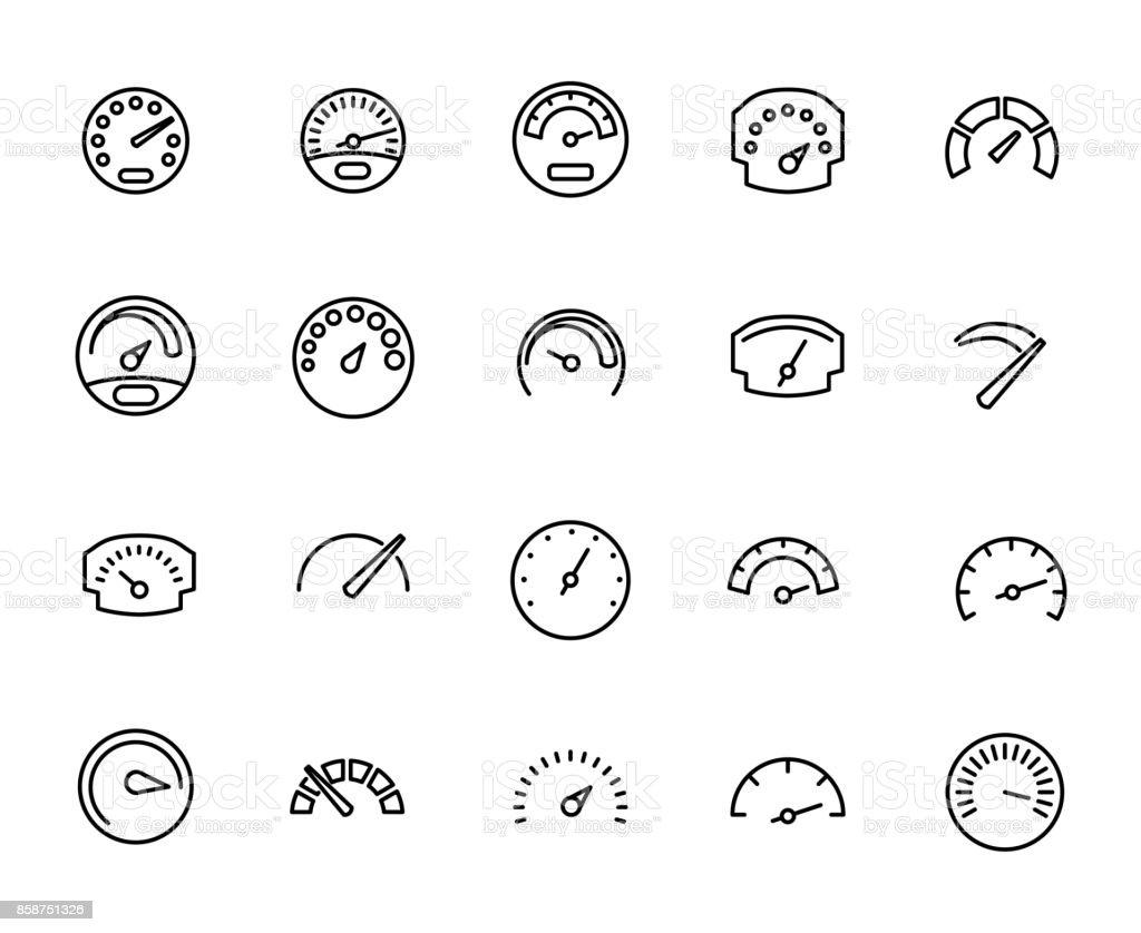 Premium set of speedometer line icons. vector art illustration