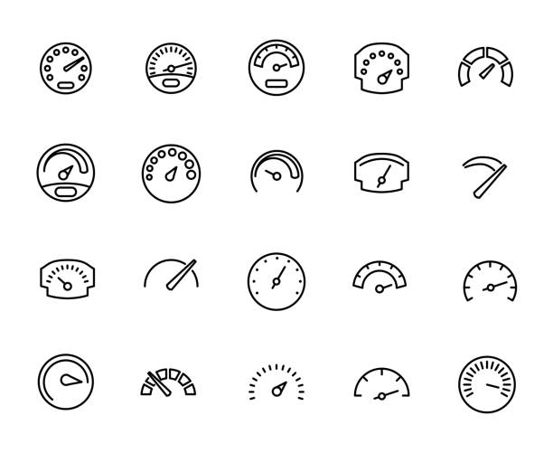 Premium set of speedometer line icons. Premium set of speedometer line icons. Simple pictograms pack. Stroke vector illustration on a white background. Modern outline style icons collection. meter instrument of measurement stock illustrations