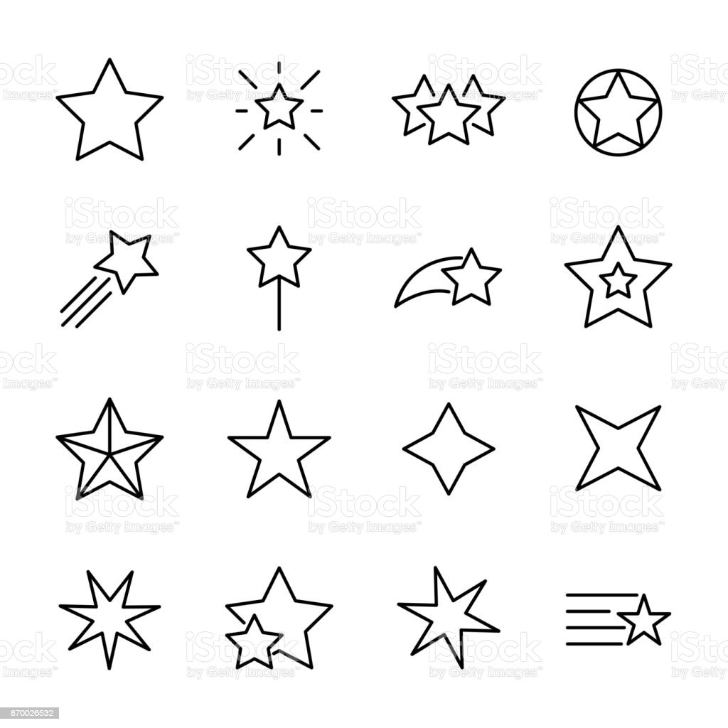 Premium set of star line icons. royalty-free premium set of star line icons stock illustration - download image now