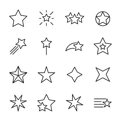 Premium Set Of Star Line Icons - Stockowe grafiki wektorowe i więcej obrazów Betlejem - Zachodni Brzeg