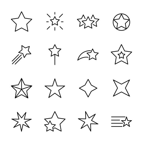 illustrazioni stock, clip art, cartoni animati e icone di tendenza di premium set of star line icons. - stelle
