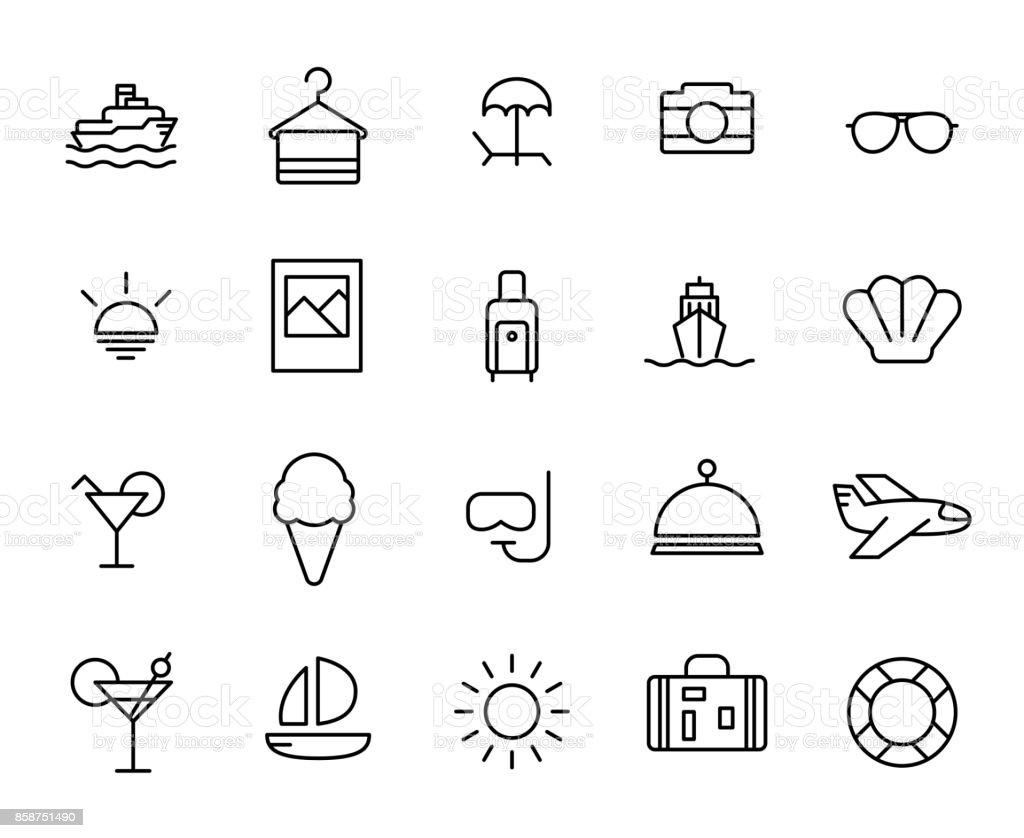 Premium set of summer line icons. vector art illustration