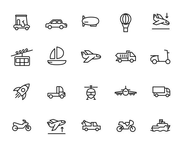 bildbanksillustrationer, clip art samt tecknat material och ikoner med premium uppsättning transport linje ikoner. - traktor pulling
