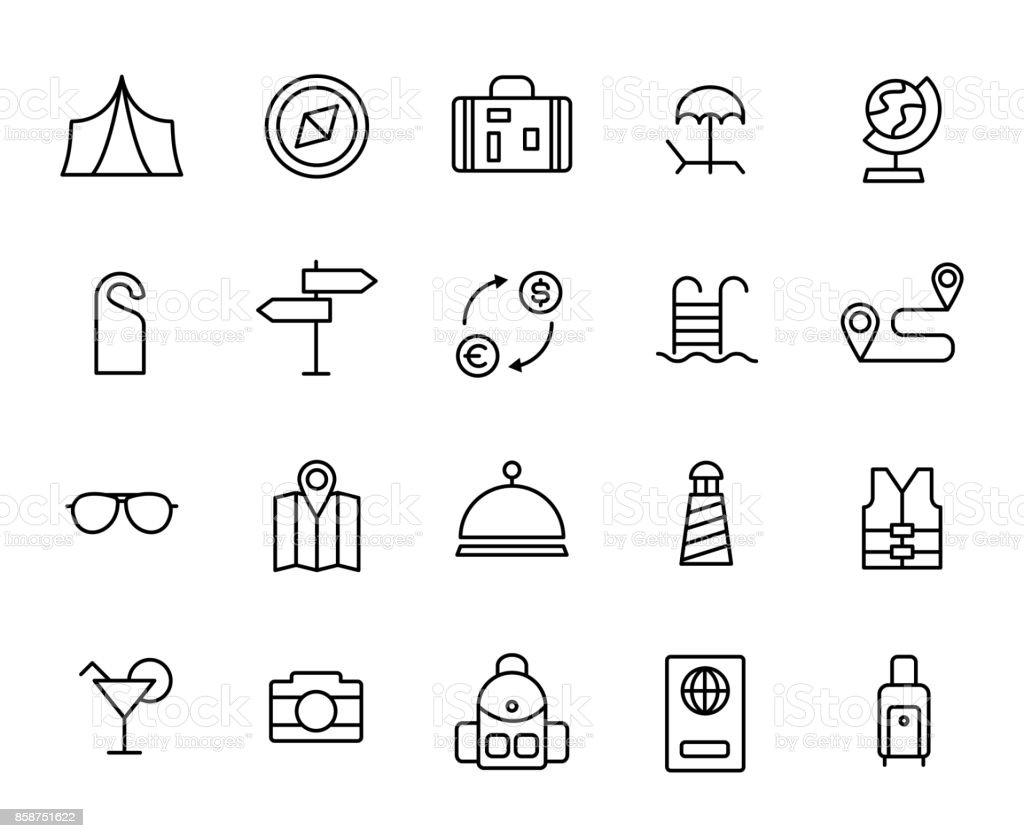 Premium set of travel line icons vector art illustration