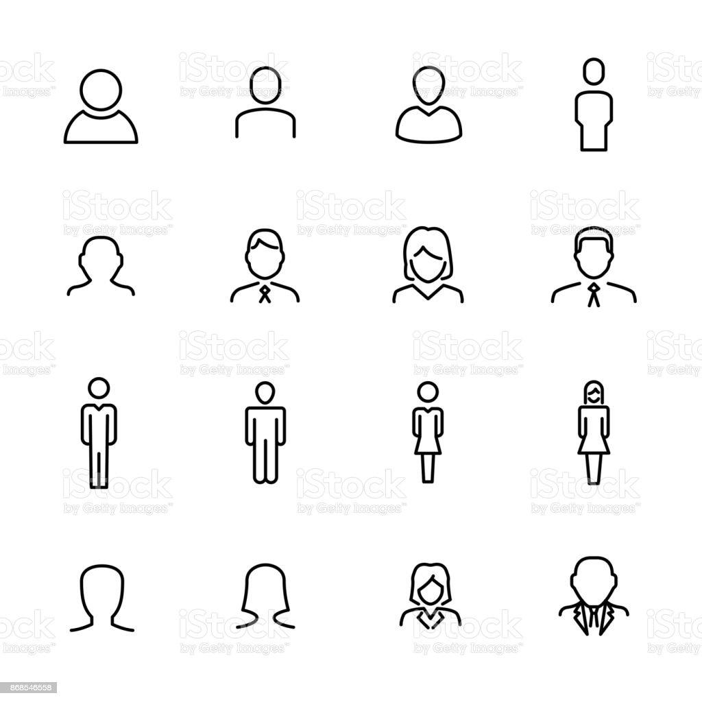 Prime l'ensemble des icônes de ligne des utilisateurs. - Illustration vectorielle