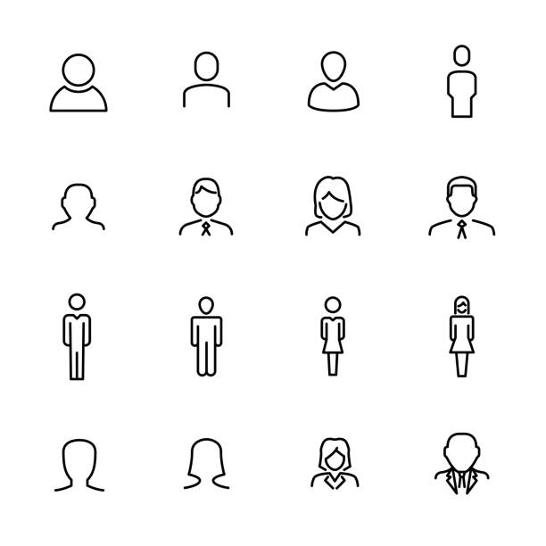 premium set of user line icons. - female faces stock illustrations, clip art, cartoons, & icons