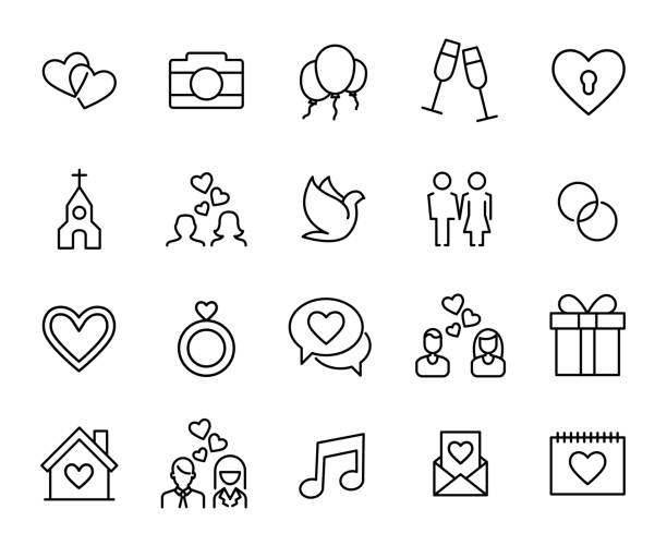 Premium set of wedding line icons. Premium set of wedding line icons. Simple pictograms pack. Stroke vector illustration on a white background. Modern outline style icons collection. trillium stock illustrations