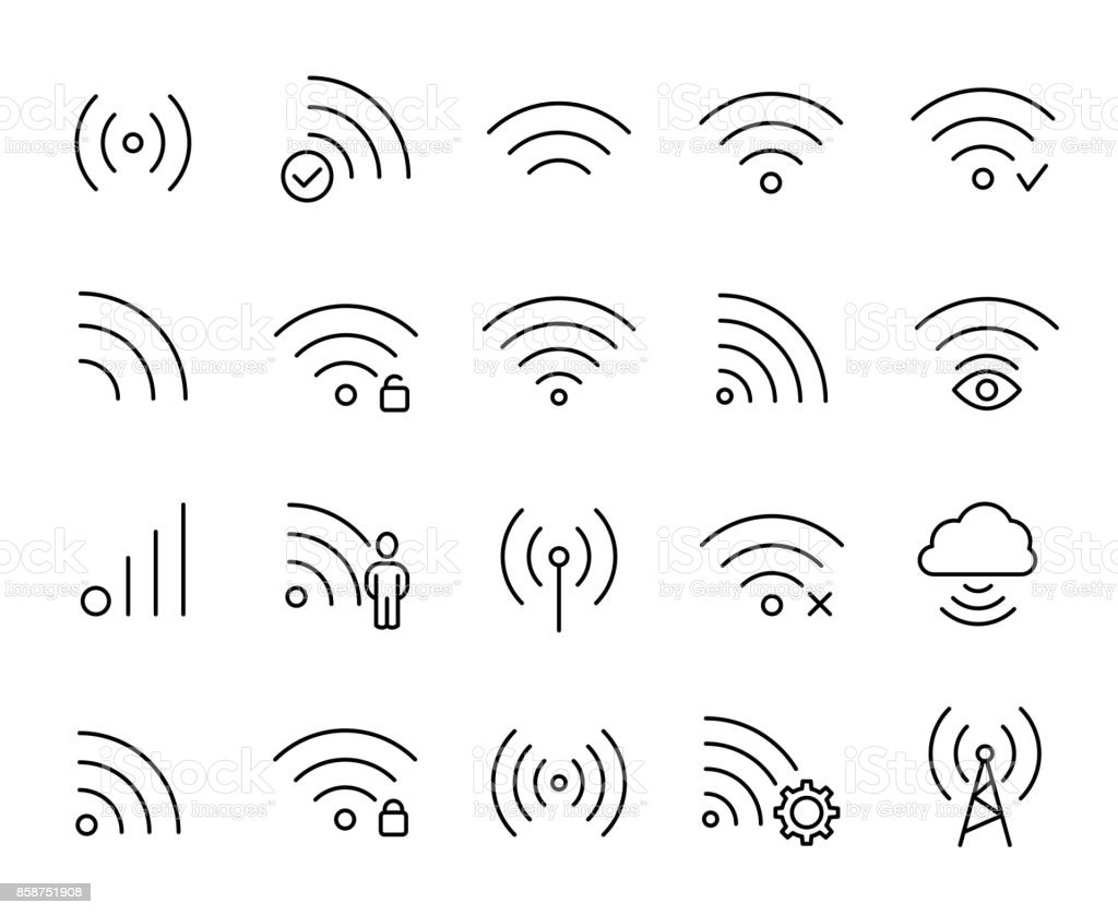 Premium set of wi-fi or wireless line icons. vector art illustration