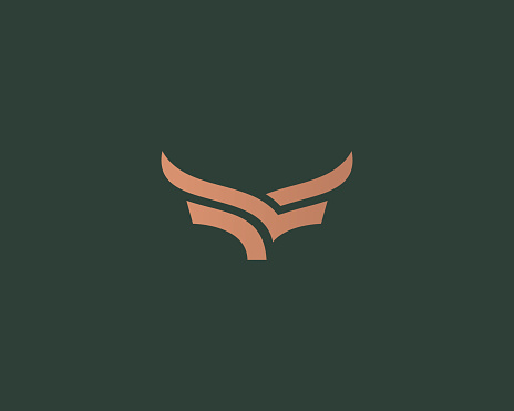 Premium steak house vector logotype. Creative linear horns wings logo.