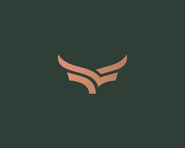 ilustrações de stock, clip art, desenhos animados e ícones de premium steak house vector logotype. creative linear horns wings logo. - beef angus