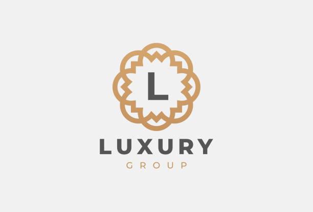 Premium universal monogram letter L initials Premium universal monogram letter initials. Abstract elegant flower icon vector design. Universal creative premium symbol. Luxury abc jewel. letter l stock illustrations